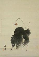 Japanese fox priest ink scroll